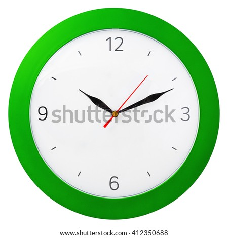 green clock with black arrows. isolated on white background