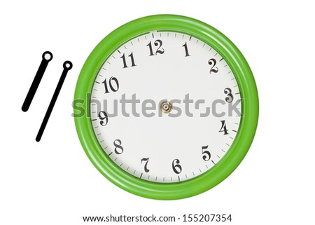 Green clock with hour and minute pointers were moved outside - stock photo