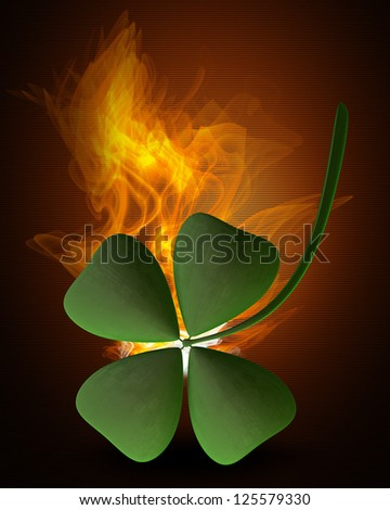 Green clover in Fire high resolution 3d illustration - stock photo