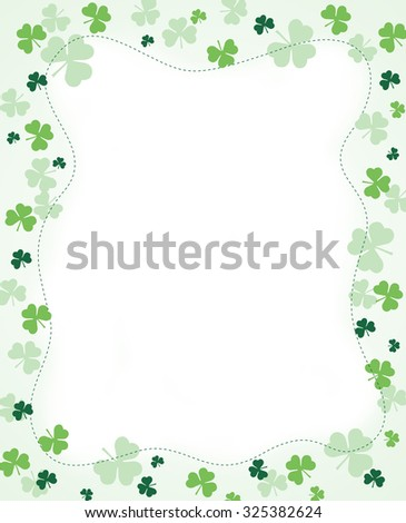 Green clover st. Patrick's Day Background / Border - stock photo