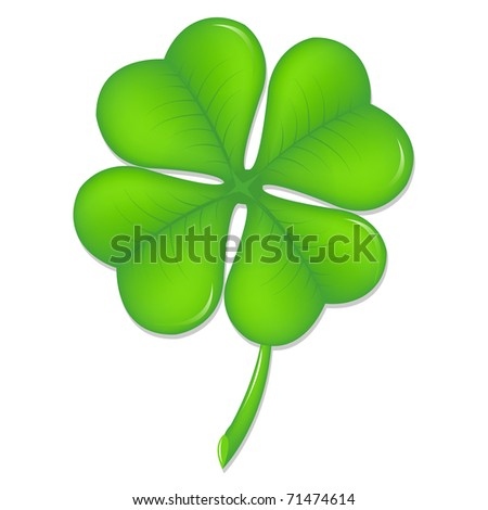 Green Clover, Symbol St. Patrick's Day, Isolated On White Background - stock photo