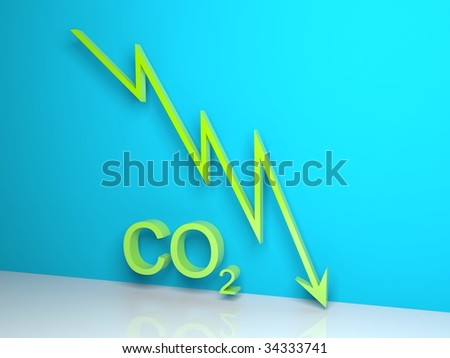 Green CO2 statistics graph on blue background