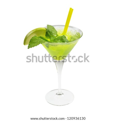 Green cocktail with ice and mint. Isolated on white. - stock photo