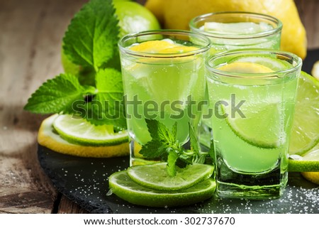Green cocktail with vermouth, mint and citrus, selective focus - stock photo