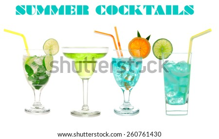 Green cocktails Blue Hawaiian Cosmopolitan Mojito tropical cocktail drinks with alcohol vodka in martini glasses isolated on a white background - stock photo