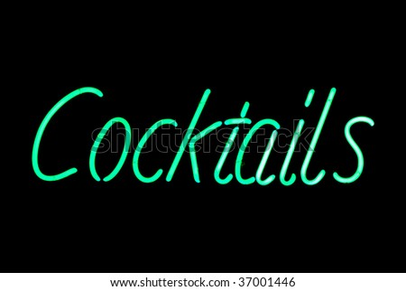 Green cocktails neon sign isolated on black background - stock photo