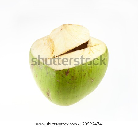 Green coconuts fruit isolated on white