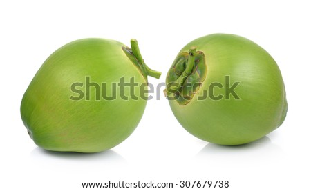 Green coconuts on white background - stock photo
