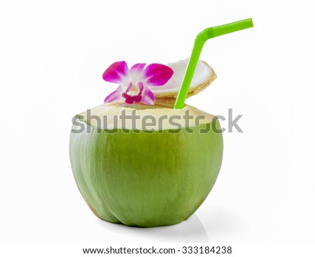 Green coconuts with drinking straw isolated - stock photo