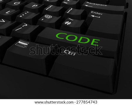 Green CODE Computer Key Background