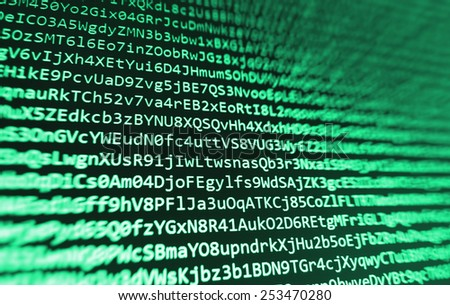Green coding programming source code screen. Colorful abstract data display. Software developer web program script. Bits program script background. - stock photo