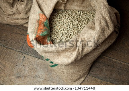Green coffee bag - stock photo