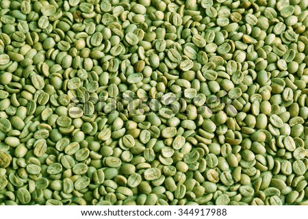 Green coffee beans, close up - stock photo