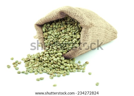 Green Coffee Beans In Coffee Bag On White Background - stock photo