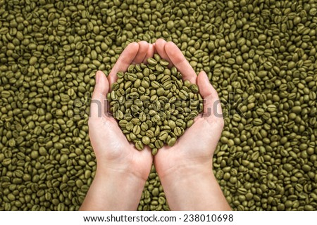 Green coffee beans in woman's hands. - stock photo