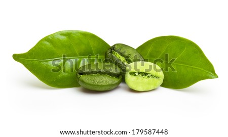 Green coffee beans with leaf isolated on white background. - stock photo