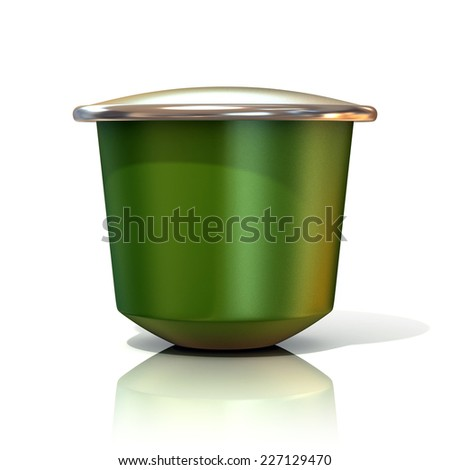 Green coffee capsule. 3D render, isolated on white background. Front view - stock photo