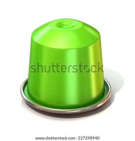 Green coffee capsule. 3D render, isolated on white background. Front view