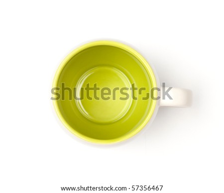 Green coffee cup, above view. Isolated on white background