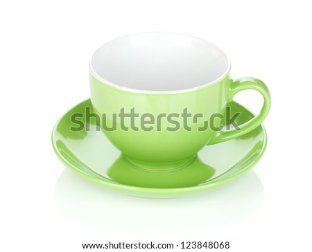 Green coffee cup. Isolated on white background