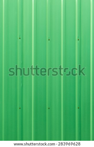Green color corrugated metal zinc sheet  texture background