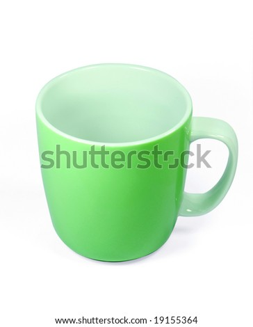 Green Color cup isolated on whited background with clipping path