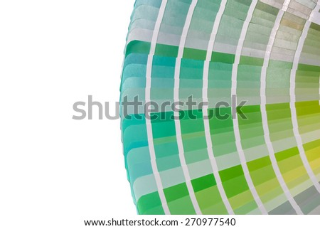 green color palette guide for printing industry isolated - stock photo