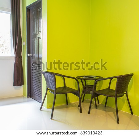 Green Color Wall Modern Room Hotel Stock Photo 639013423 - Shutterstock
