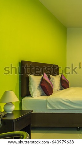 Green Color Wall Modern Room Hotel Stock Photo 640979638 - Shutterstock