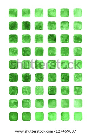 Green color watercolor blank rounded square shapes web buttons on white background. Abstract aquarelle colorful backdrop. Hand made technique image of rectangle format
