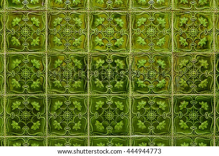 green colored azulejos - hand made tiles from Lisbon, Portugal