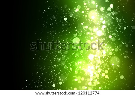 Green colour bokeh abstract light background. Illustration - stock photo