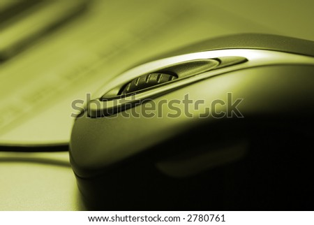 green colourised mouse, focus on scroll