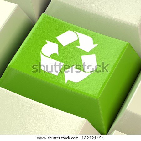 Green Computer Key Showing Recycling And Eco Friendliness - stock photo
