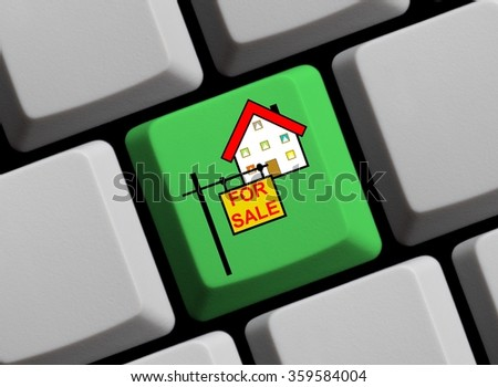 Green computer keyboard is showing house for sale - stock photo