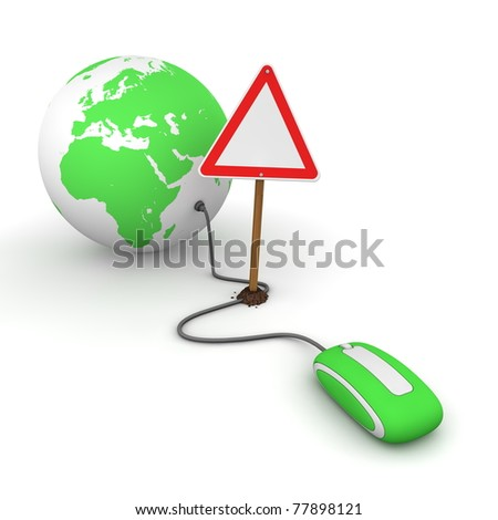 green computer mouse is connected to a green globe - surfing and browsing is blocked by a triangular red-white warning sign that cuts the cable - empty template sign - stock photo