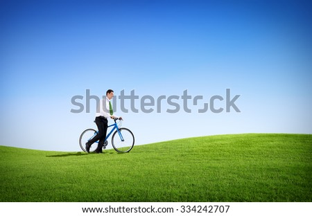 Green Concept Business Man Cycling Bicycle Outdoors Concept