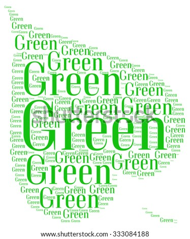 Green concept info text collage Composed in the shape of leaf an isolated on white