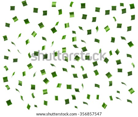 Green confetti on white background