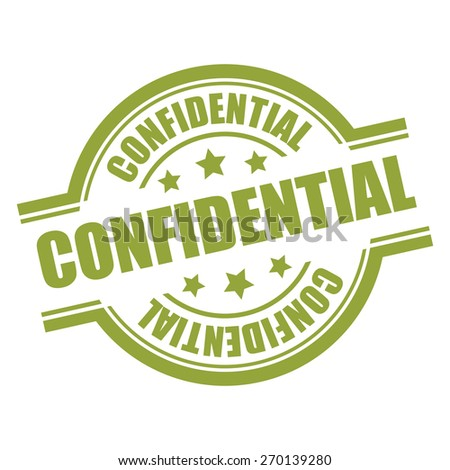 Green Confidential Stamp, Badge, Label, Sticker or Icon Isolated on White Background - stock photo