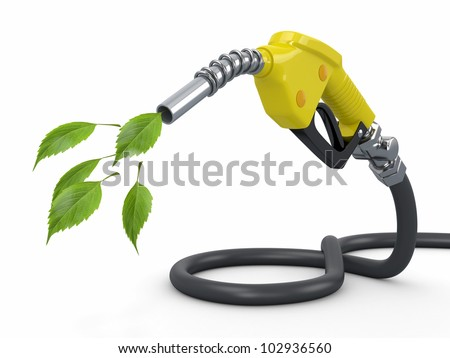 Green conservation. Gas pump nozzle and leaf. 3d - stock photo