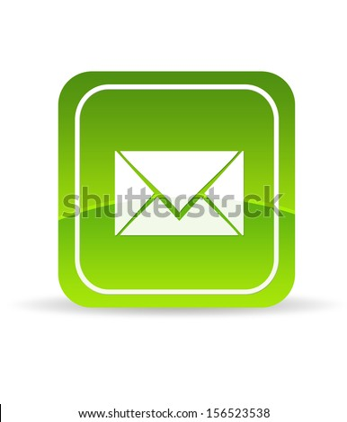Green Contact Us Icon - stock photo