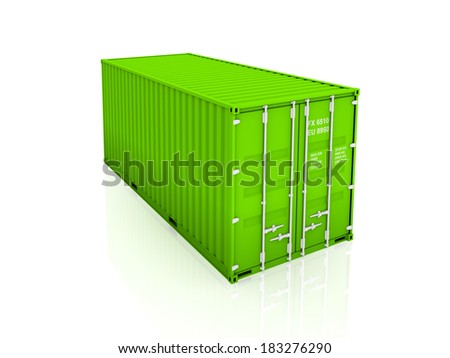Green container.Isolated on white.3d rendered. - stock photo