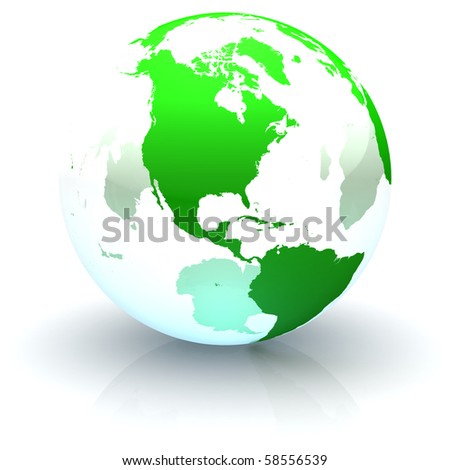 Green continents-only transparent globe illustration with highly detailed continents facing North America