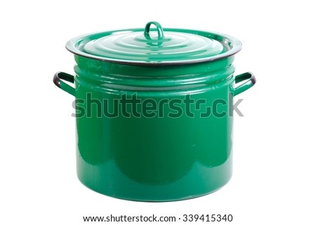 Green cooking pot isolated on white background - stock photo