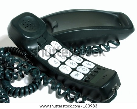 Green corded phone with large number keypad