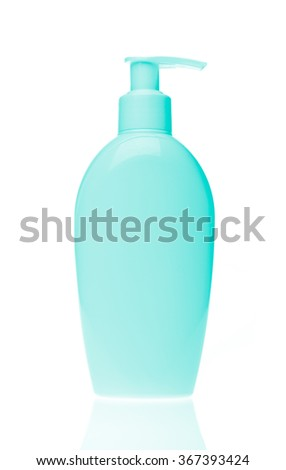 green cosmetic bottle isolated on white background - stock photo