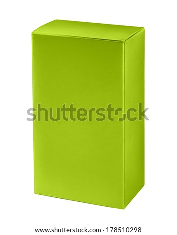 Green cosmetic packaging box / studio photography of green box for cosmetics - isolated on white background  - stock photo
