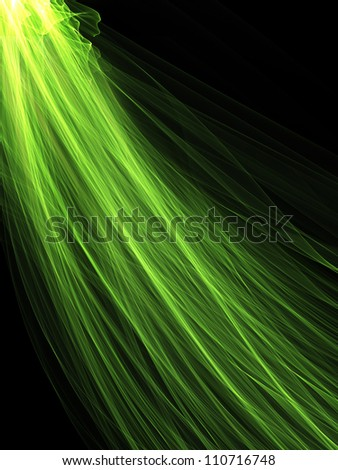 Green Cosmic Feather - stock photo