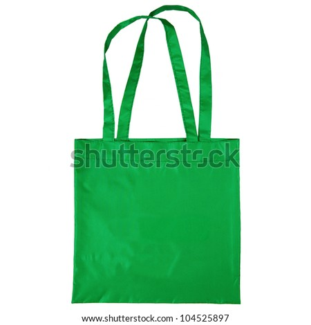 green cotton bag isolated on white